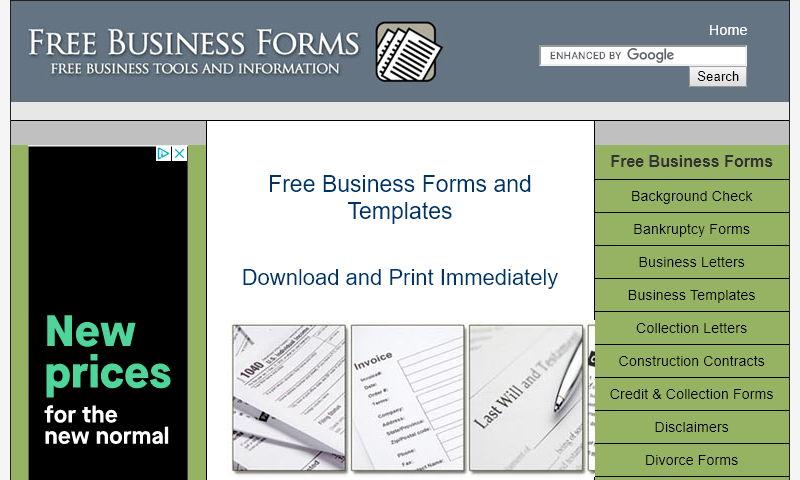 freebusinessforms.com
