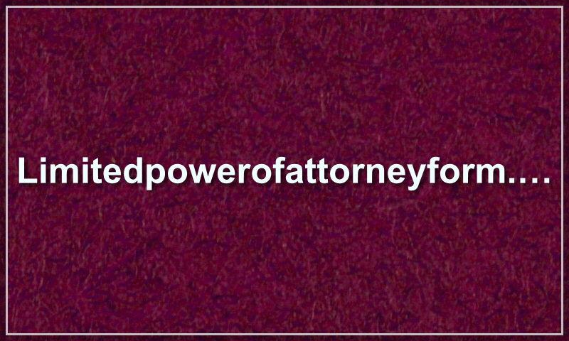limitedpowerofattorneyform.com